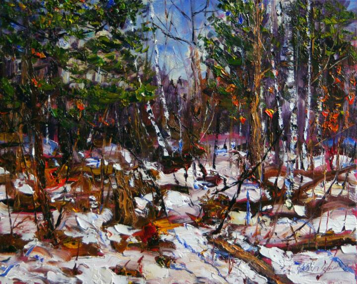 White-Pine-Birch-Early-Spring 16x20 plein air oil