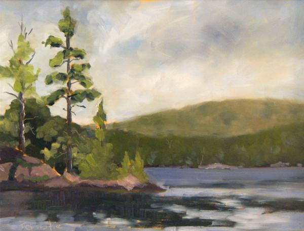 "Centre Lake 12"" X 16"" oil"