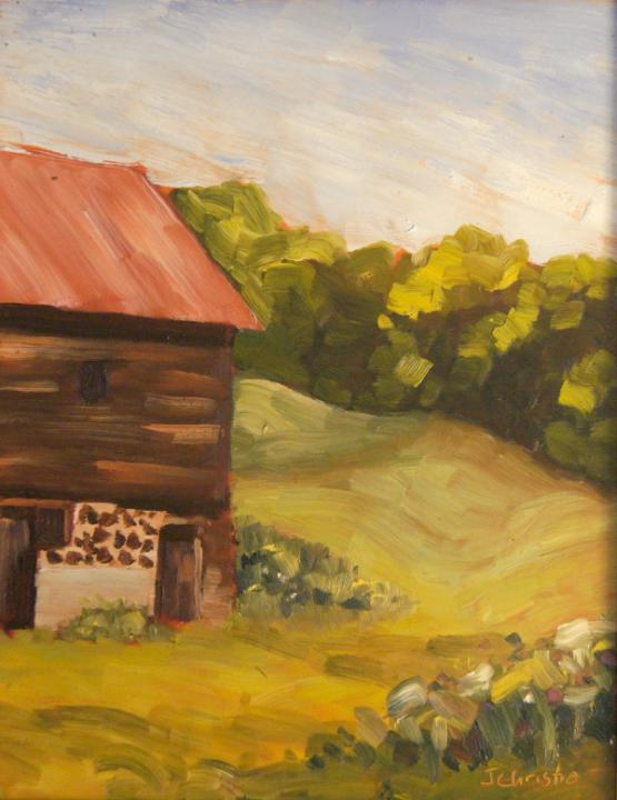 "George Earle's Barn 14"" X 11"" oil"