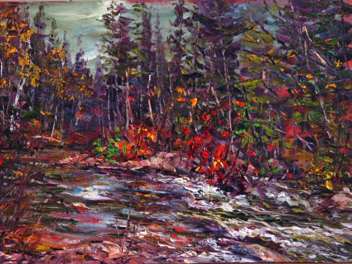 Fast-moving-water-Algonquin 12x16 plein air oil