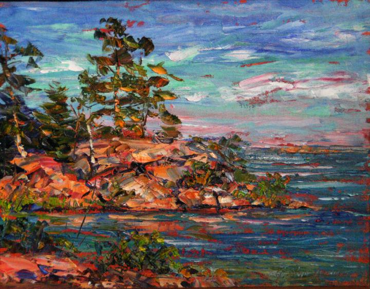 Killarney Rocky-Inlet-with-white-Pine  11x14 plein air oil