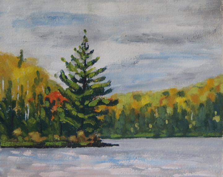 "Byers Lake Point - 8"" X 10"" acrylic on gessoed watercolour paper"