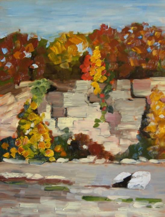 "Fall in the Quarry 16"" X 12"" oil on hardboard"