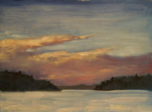 Paudash Lake front bay  12 X 16 oil on hardboard