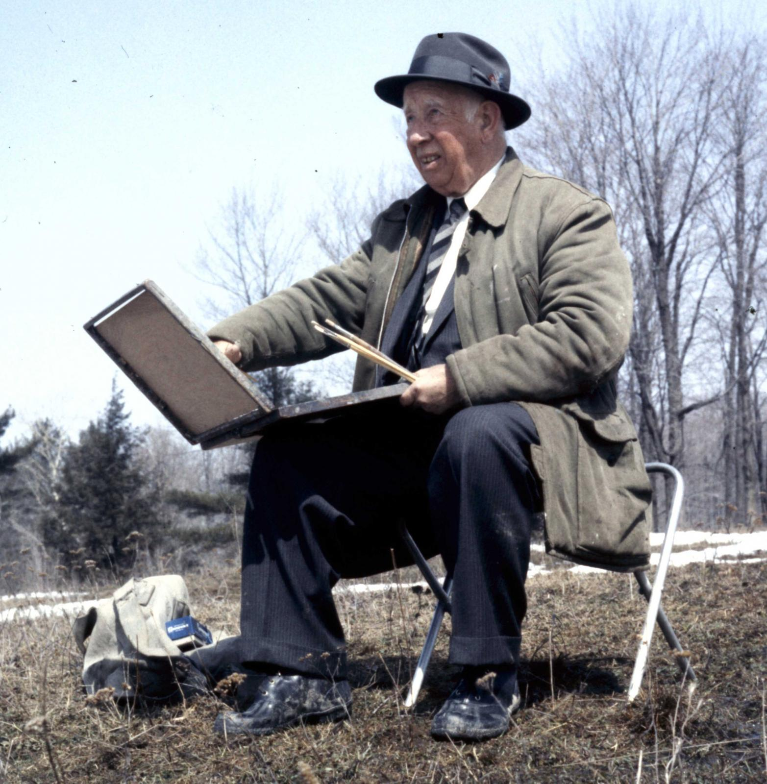 AY Jackson sketching near Ottawa early 1960's