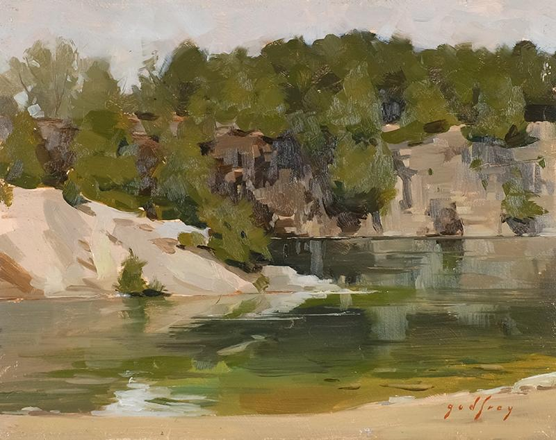 "Elora Quarry. 8""x10"" oil on board"